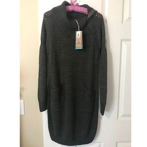 Prana Archer cotton sweater dress cargo green